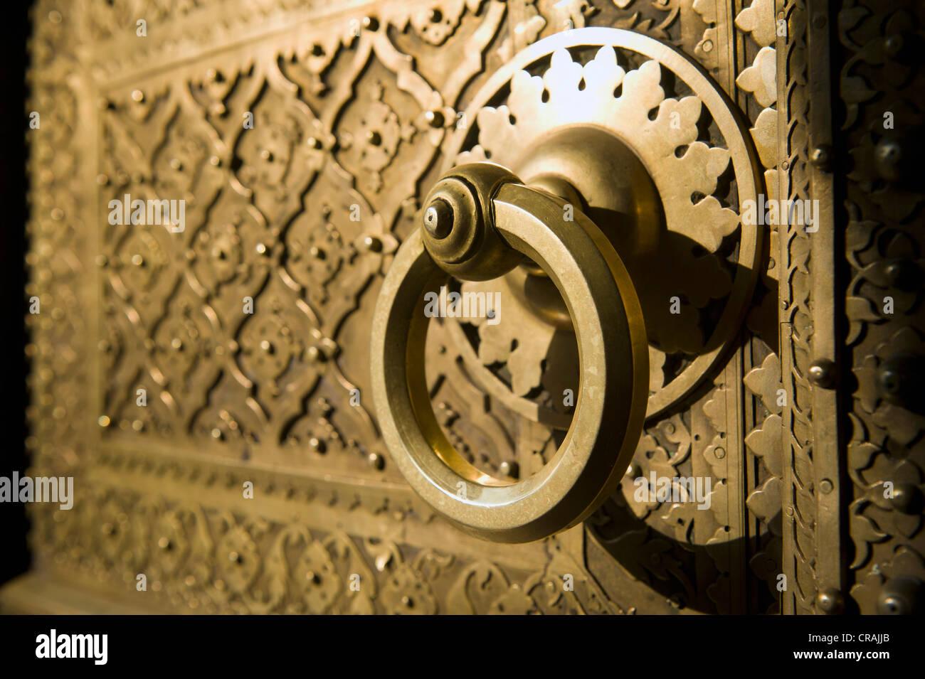 Door handle, City Palace, Jaipur, Rajasthan, India, Asia - Stock Image