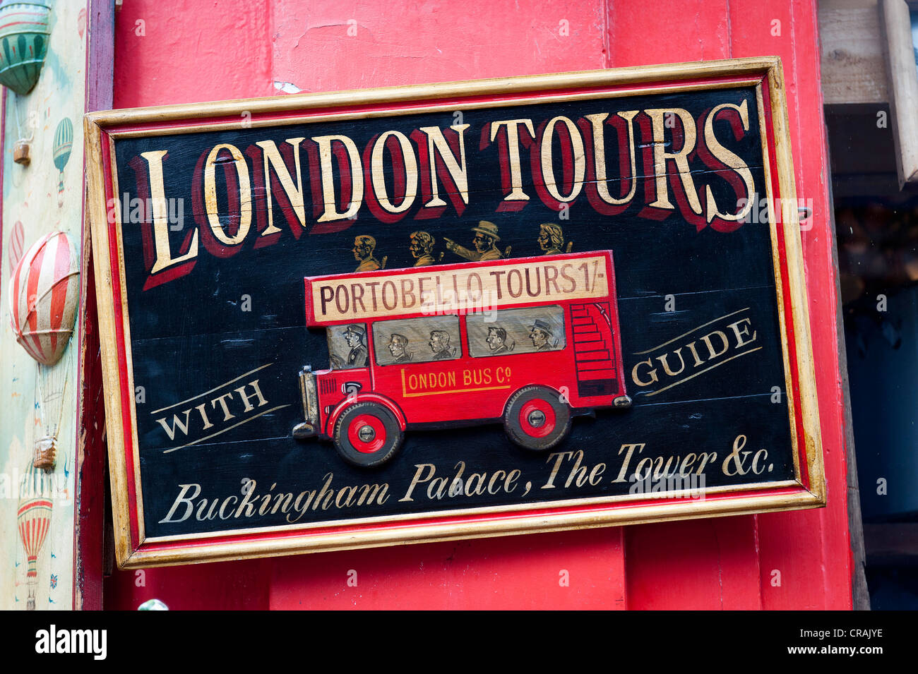 Old sign 'London Tours', antiques shop, Portobello Road, Notting Hill, London, England, United Kingdom, - Stock Image
