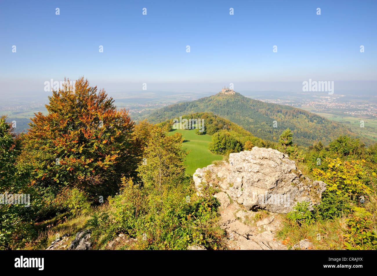 View from the popular tourist destination, lookout point towards Schaufelsen Zellerhorn zur Burg Hohenzollern Castle - Stock Image
