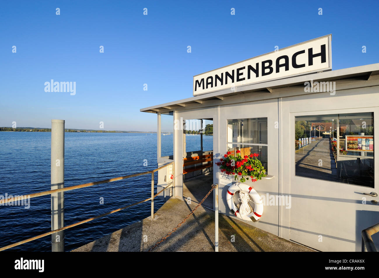 Shelter on pier of Mannenbach, Canton of Thurgau, Switzerland, Europe - Stock Image