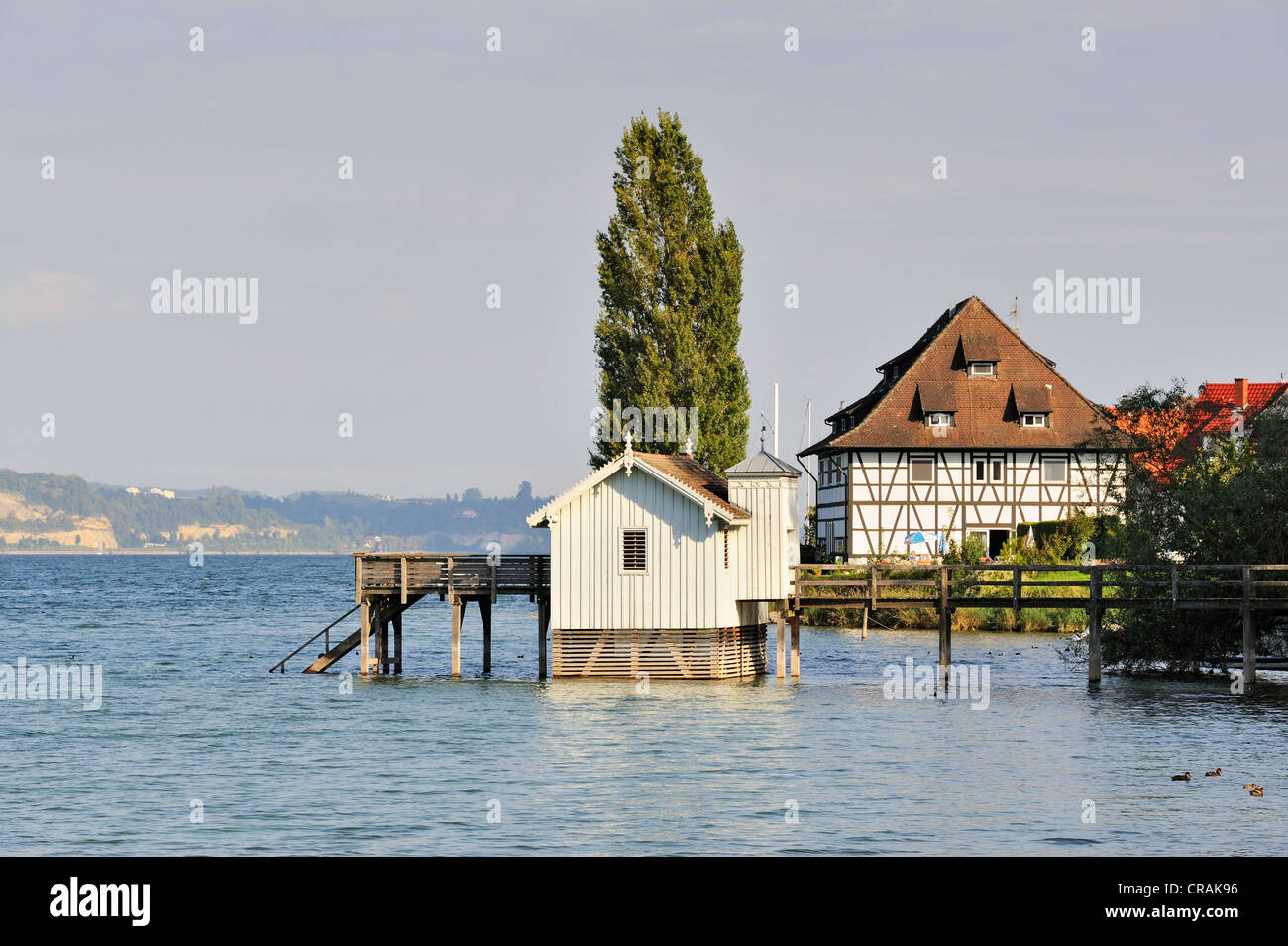 Historic bathhouse on the bank of Bodman, County Konstanz, Baden-Wuerttemberg, Germany, Europe - Stock Image