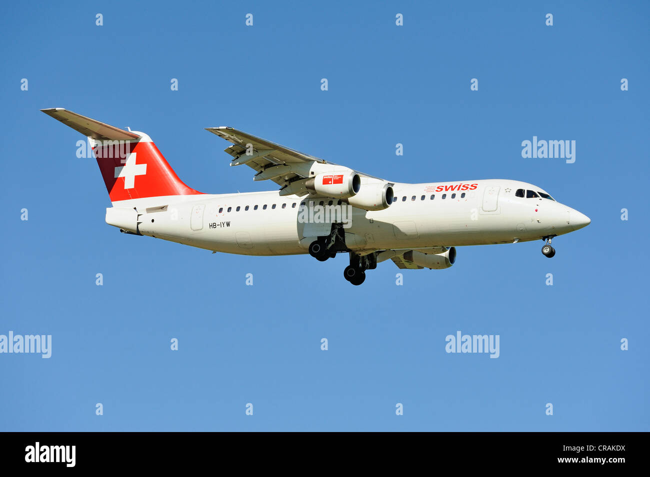 Swiss BAE Systems Avro 146-RJ100 during the landing approach to Zurich Airport, Zurich, Switzerland, Europe - Stock Image