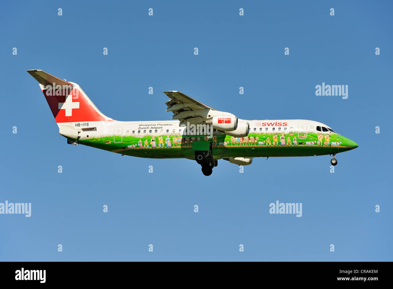 Swiss BAE Systems Avro 146-RJ100 with special livery, Shopping Paradise Zurich Airport, during the landing approach - Stock Image