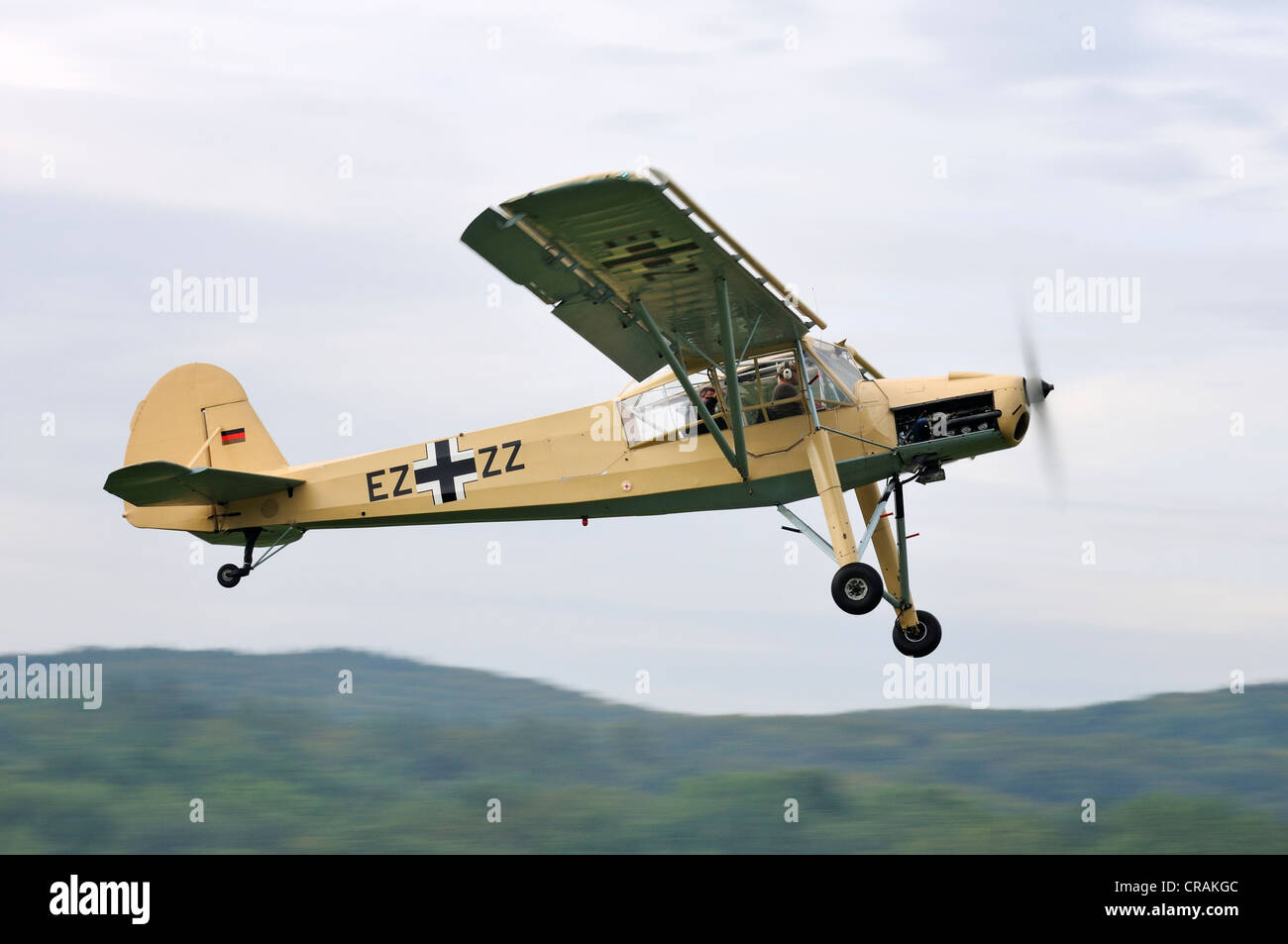 German reconnaissance aircraft, Fieseler Fi 156 Storch, first flight in 1936, Europe's largest meeting of vintage - Stock Image