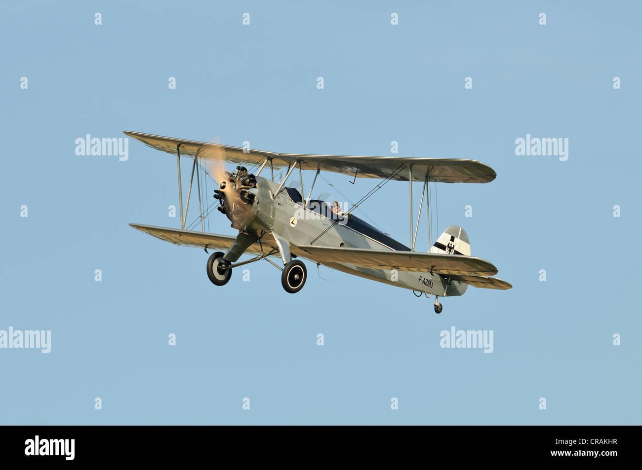 German Focke-Wulf FW-44 Stieglitz biplane, first flight in 1932, Europe's largest meeting of vintage aircraft - Stock Image
