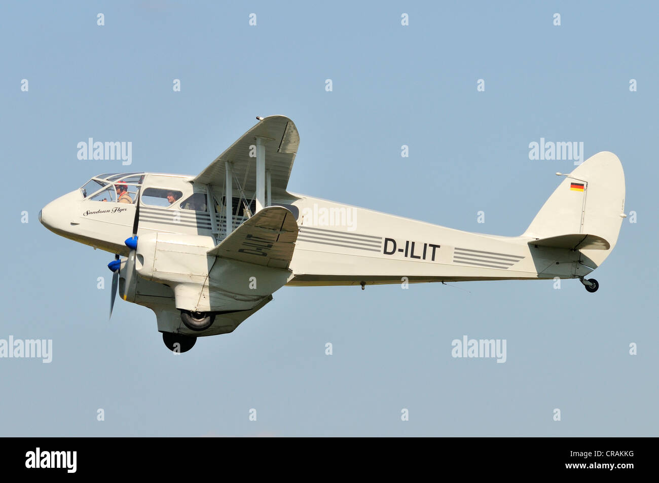 British short-haul passenger airliner, de Havilland Dragon Rapide, first flight in 1934, Europe's largest meeting - Stock Image