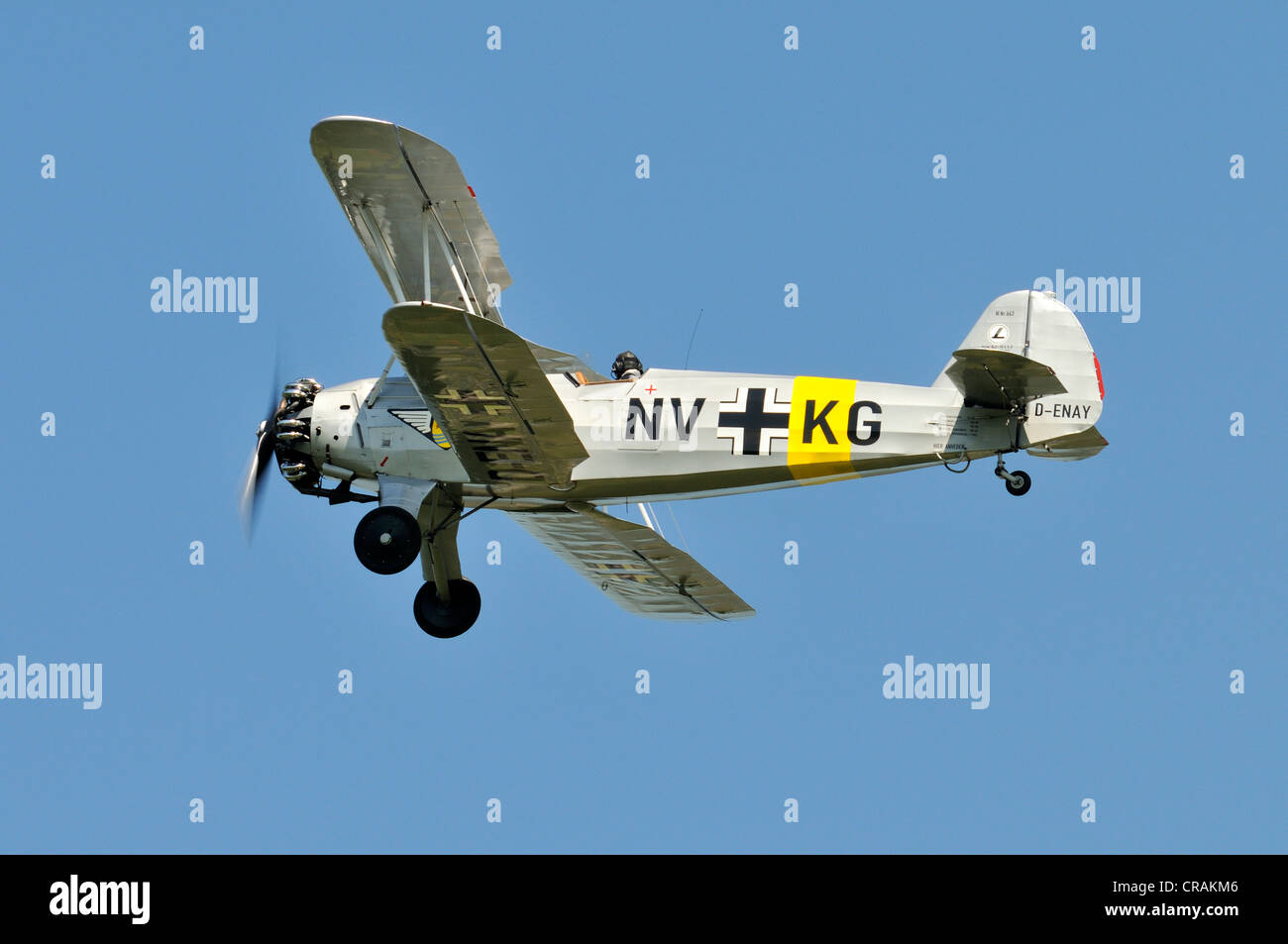 German biplane, Focke-Wulf Fw 44, first flight in 1932, Europe's largest meeting of vintage aircraft in Hahnweide - Stock Image