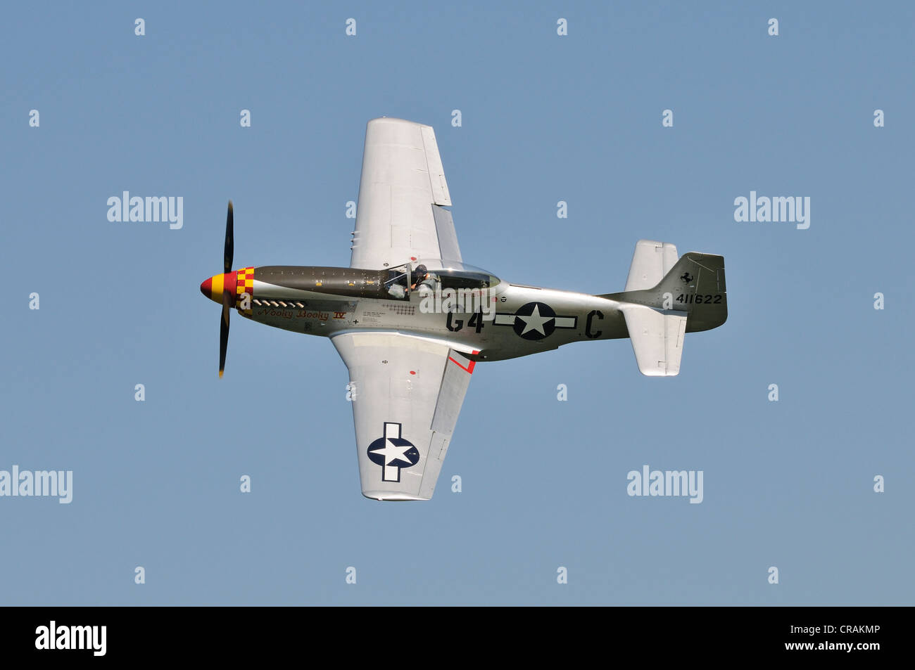 American fighter aircraft, North American P-51 Mustang, Europe's largest meeting of vintage aircraft in Hahnweide - Stock Image
