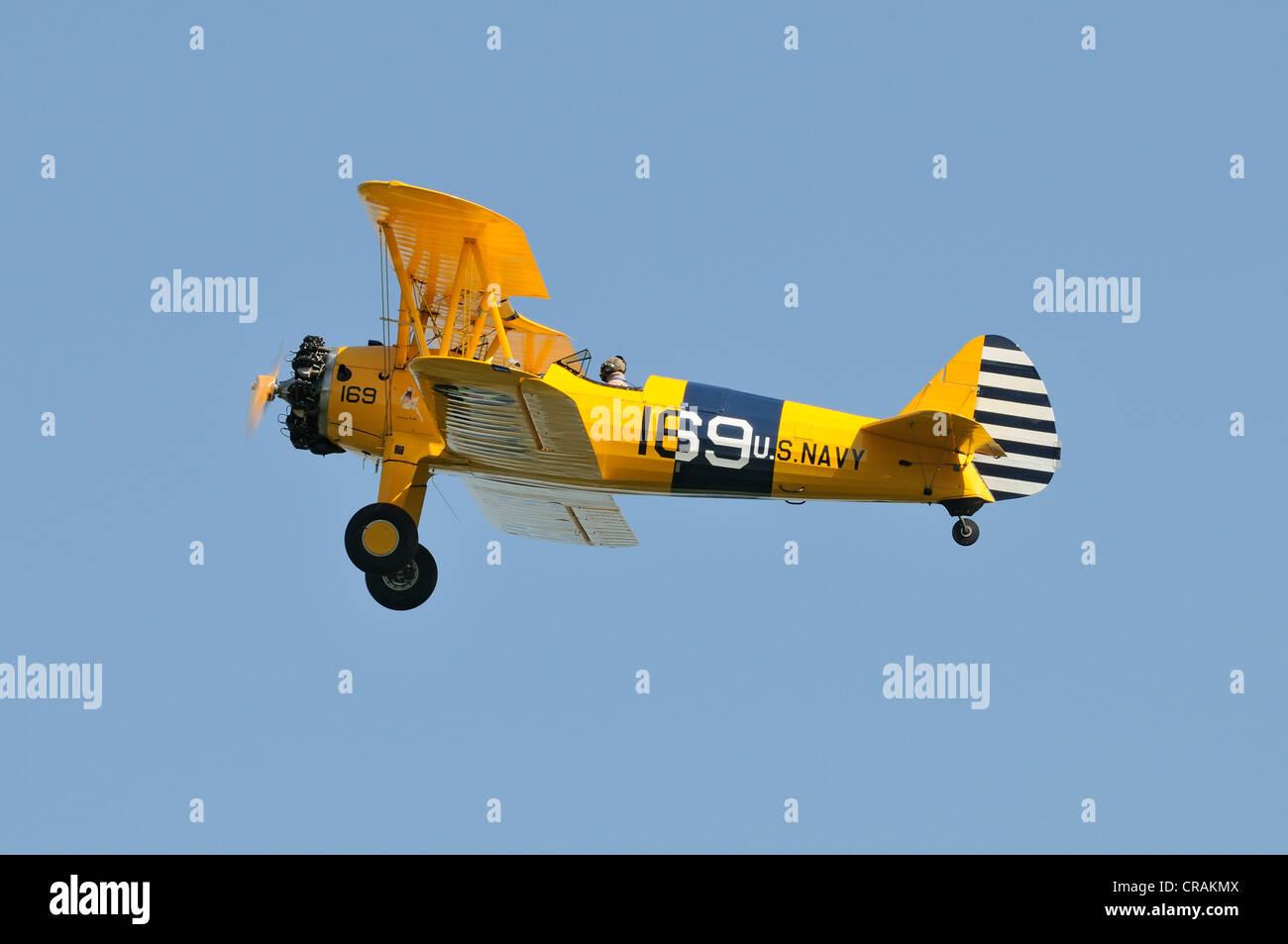 American Boeing PT17 Stearman biplane, Europe's largest meeting of vintage aircraft in Hahnweide, Kirchheim - Stock Image