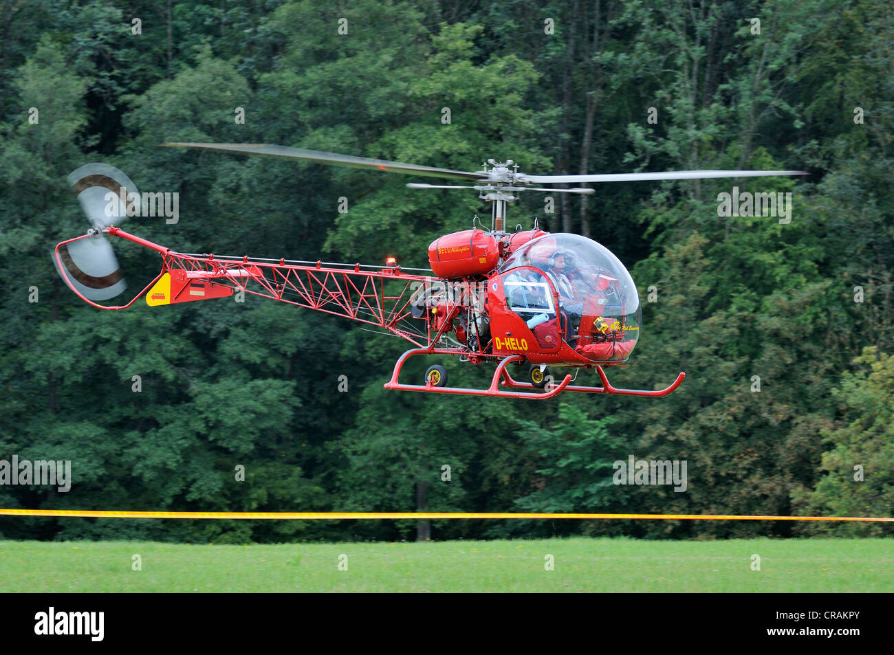Agusta Bell 47 G2, light utility helicopter, Europe's largest meeting of vintage aircraft at Hahnweide, Kirchheim - Stock Image