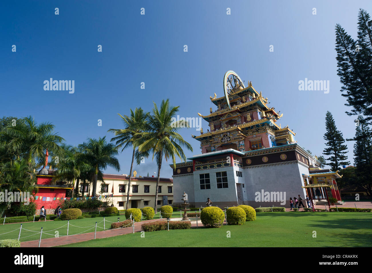 Tibetan monastery, Tibetan refugee settlement in Bylakuppe, Mysore district, Karnataka, South India, India, Asia - Stock Image