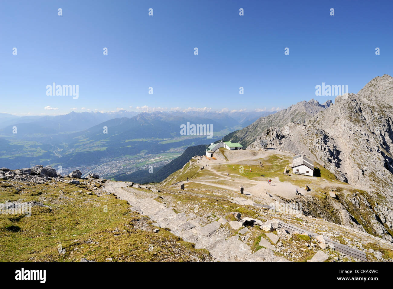 Hafelekar Summit Station With A Restautrant Alpine Pasture Below Hafelekarspitze Peak 2334 M Tyrol Austria Europe