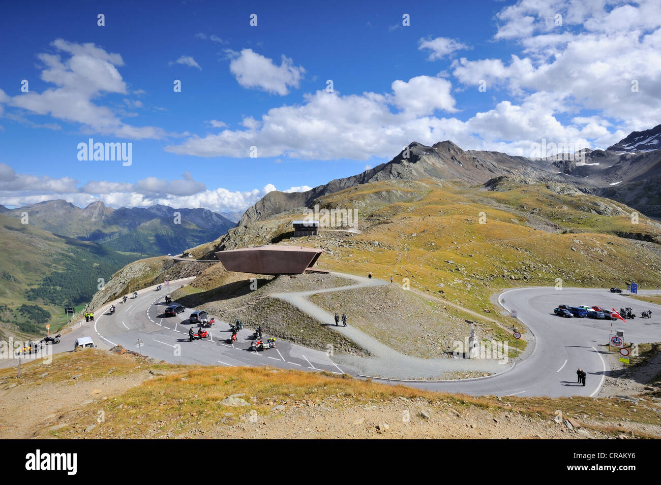 Pass Museum at the crest of Timmelsjoch High Alpine Road, 2509m, Oetztal Valley, Tyrol, Austria, Europe - Stock Image
