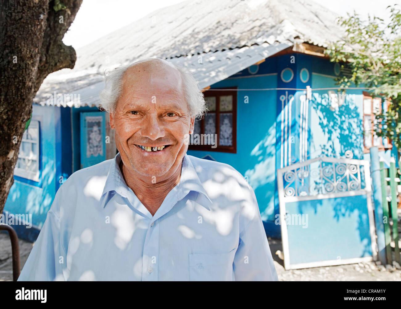 Victor Cracea, village chief of Mincenii de Jos, Moldova, Southeastern Europe - Stock Image