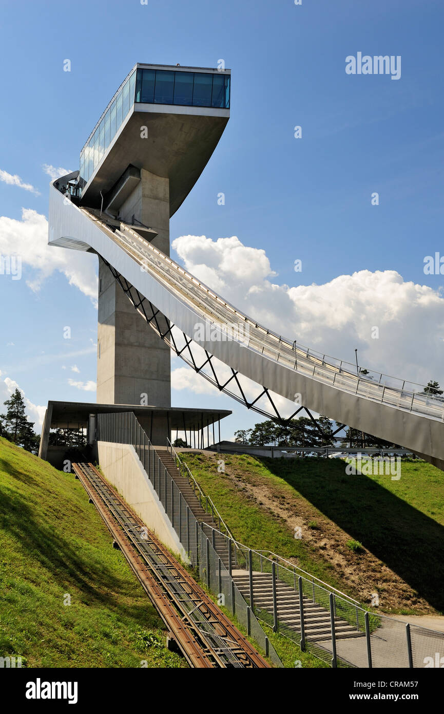 The 50-meter high tower of the ski-jump, called Bergiselschanze, above the city of Innsbruck, Tyrol, Austria, Europe - Stock Image