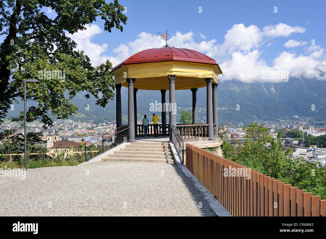 Viewpoint next to the Tiroler Kaiserjaegermuseum Bergisel museum, above the city of Innsbruck, Tyrol, Austria, Europe - Stock Image