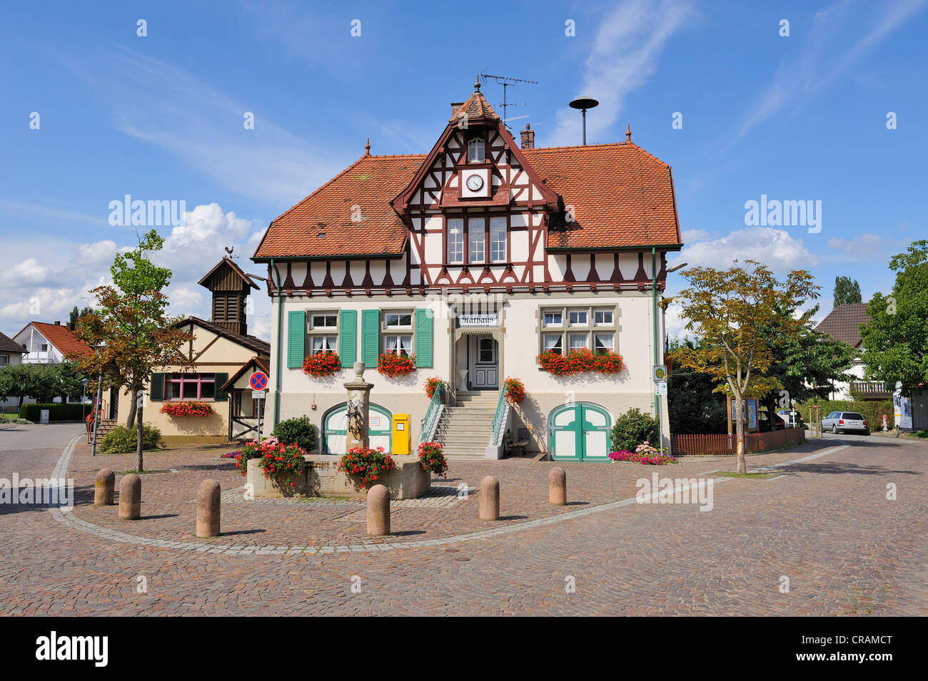 The historic town hall in Iznang, Landkreis Konstanz county, Baden-Wuerttemberg, Germany, Europe - Stock Image