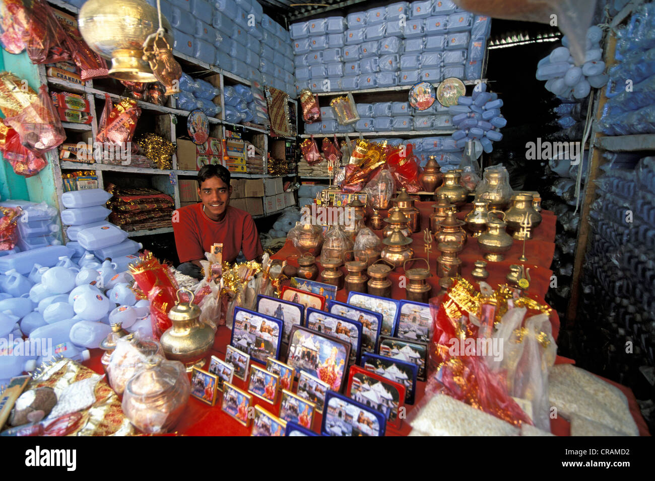 Merchant selling devotional objects, Gangotri, Indian Himalayas, Uttarakhand, formerly Uttaranchal, India, Asia - Stock Image