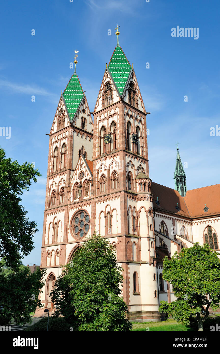 Sacred Heart Church, consecrated in 1897, Freiburg, Baden-Wuerttemberg, Germany, Europe - Stock Image