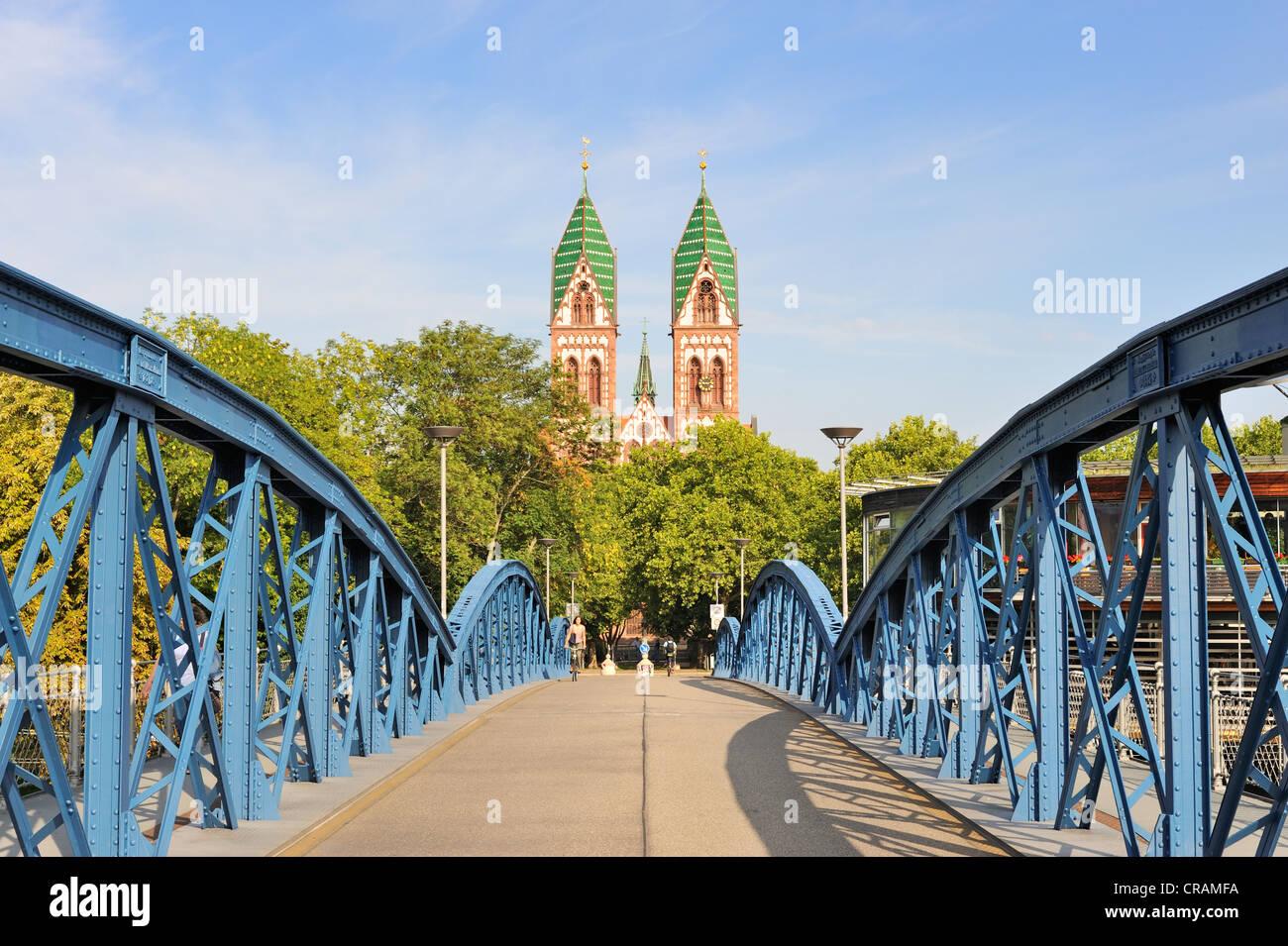 Blaue Bruecke or Wiwili-Bruecke bridge and the Sacred Heart Church, Freiburg, Baden-Wuerttemberg, Germany, Europe - Stock Image
