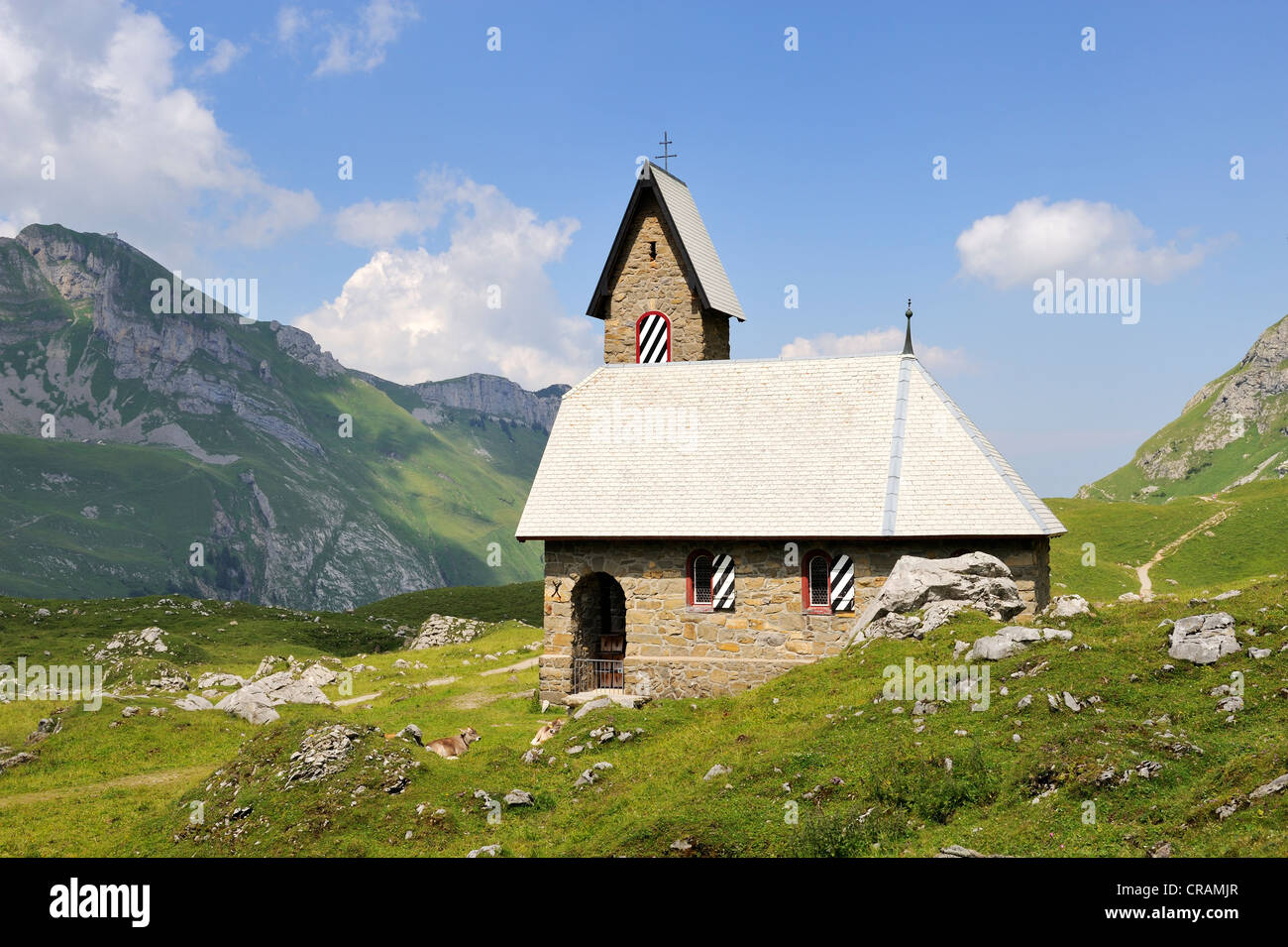 Chapel Maria im Schnee or Church of Our Lady of the Snows from 1903, Alpine hamlet Meglisalp at 1517m altitude in - Stock Image