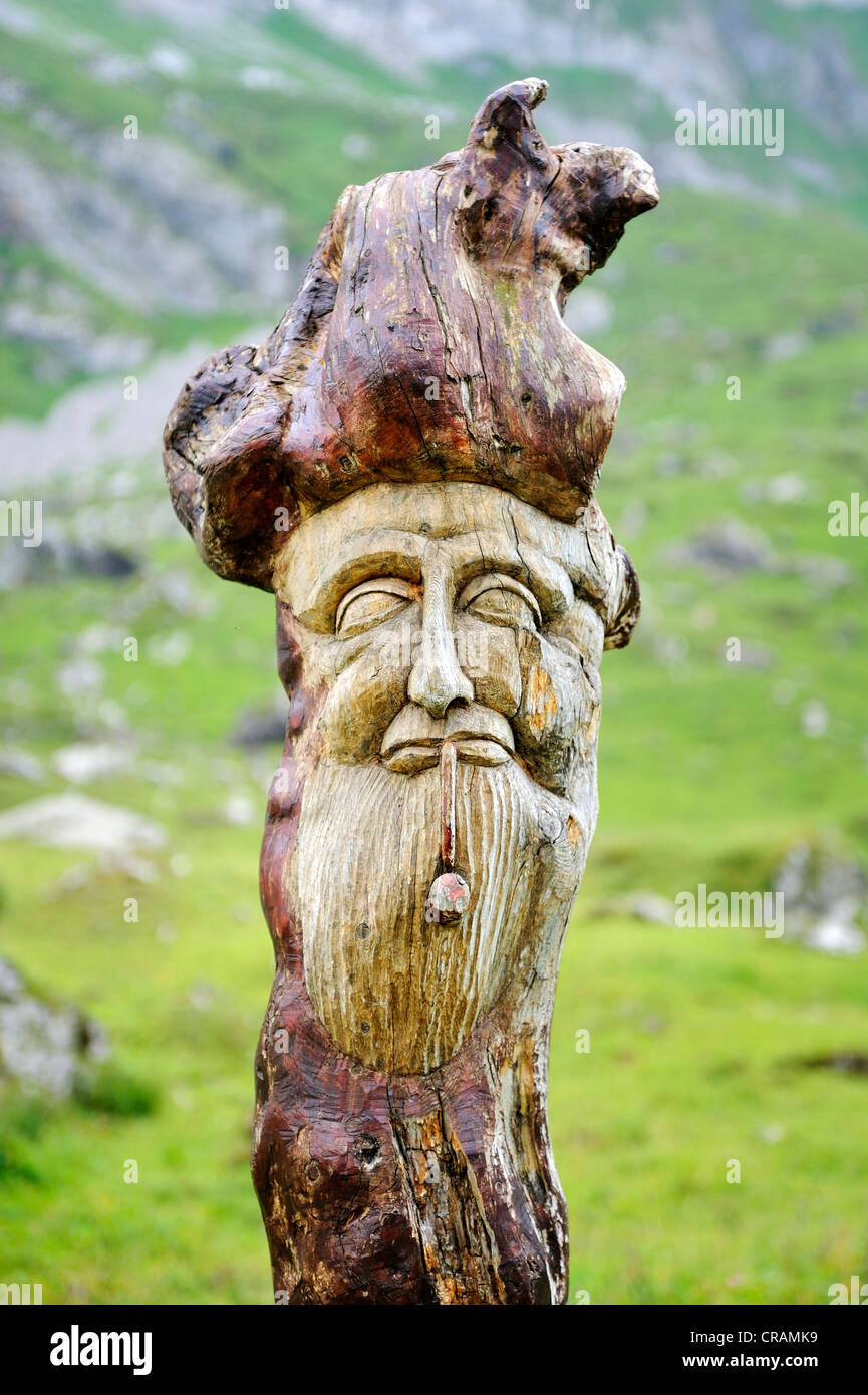 Woodcarving, Alpine hamlet Meglisalp at 1517m altitude in the Appenzell Alps, Canton Appenzell Innerrhoden, Switzerland, - Stock Image
