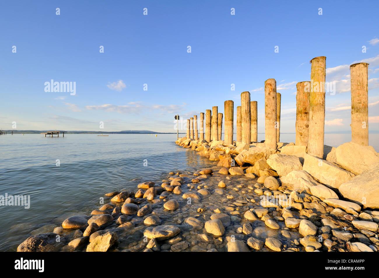 Breakwaters on the shore of Lake Constance, Altnau, Canton Thurgau, Switzerland, Europe - Stock Image