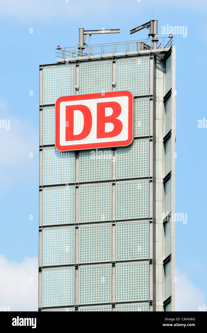 Tower with DB signage at Berlin Central Railway Station, Berlin, Germany, Europe - Stock Image