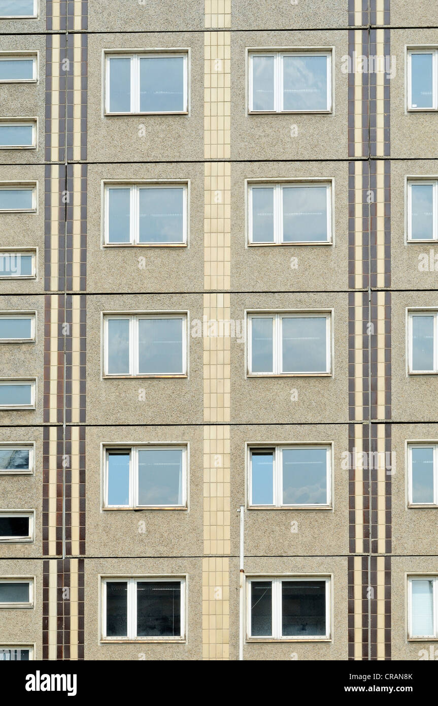 Prefabricated concrete building from the DDR, Berlin, Germany, Europe - Stock Image