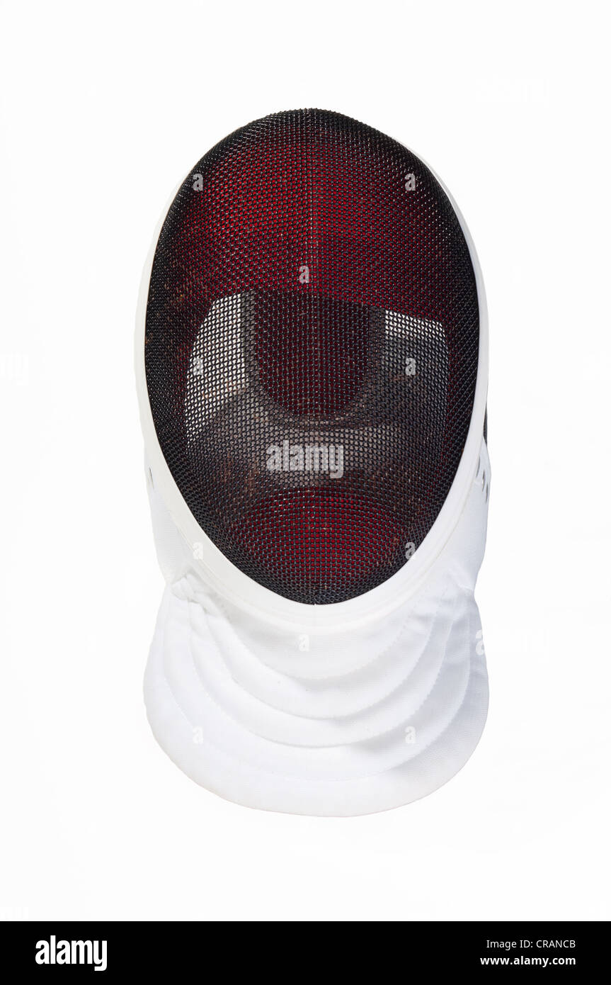 fencers mask on a white background - Stock Image