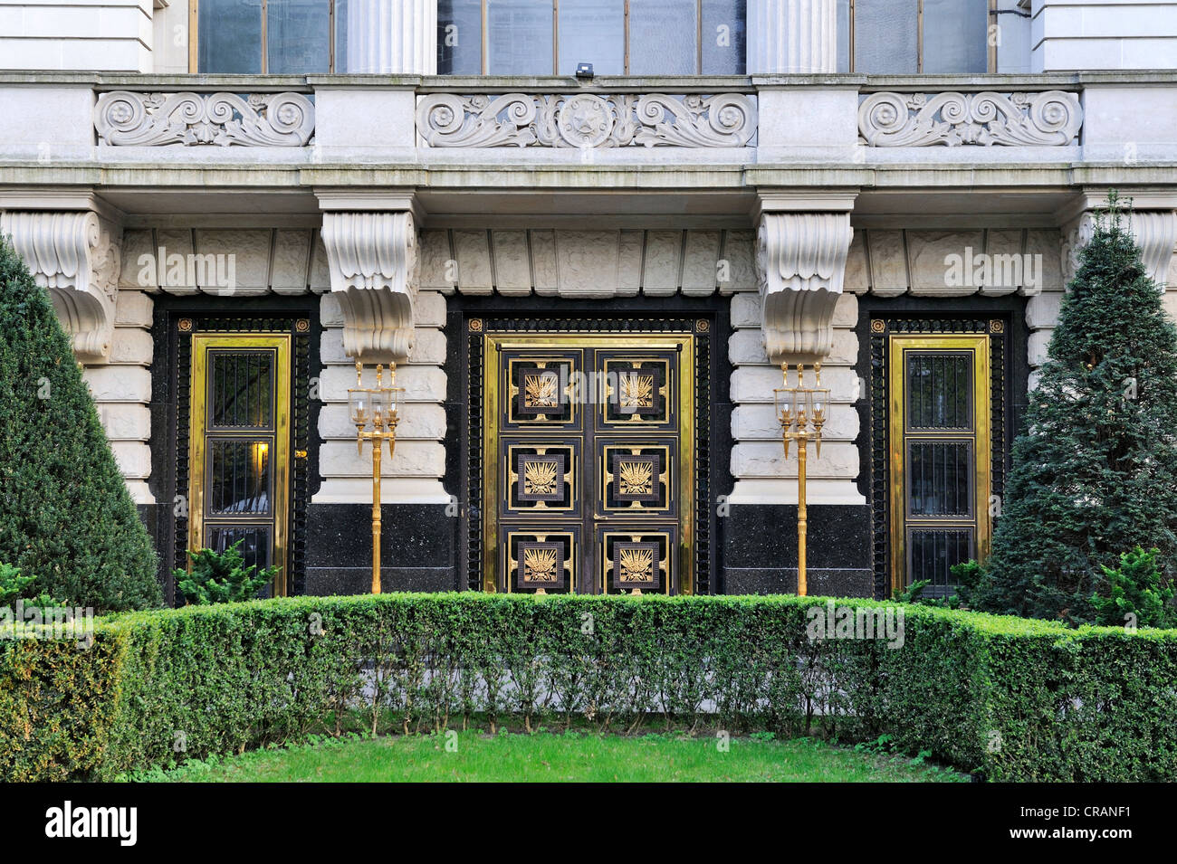 Entrance portal of the Embassy of the Russian Federation, unter den Linden boulevard, Berlin, Germany, Europe - Stock Image