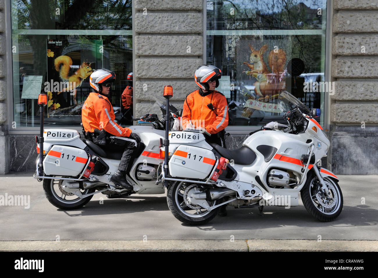 Policemen with BMW R1150RT motorbikes, built in 2003 and 2004, city police of Zurich, Canton of Zurich, Switzerland, - Stock Image