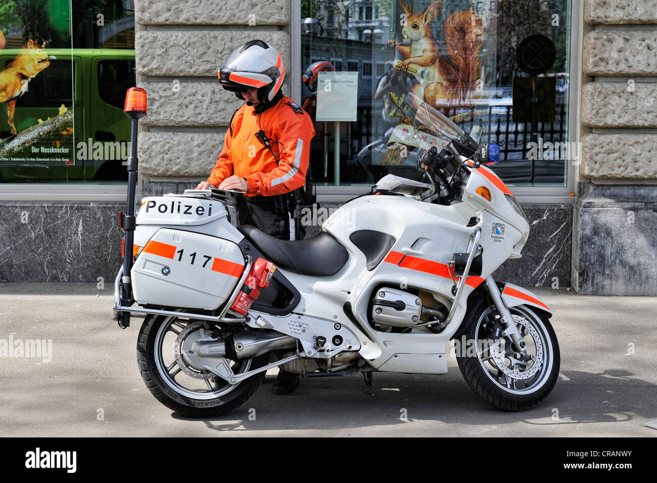 Policeman with a BMW R1150RT motorbike, built in 2003 and 2004, city police of Zurich, Canton of Zurich, Switzerland, - Stock Image