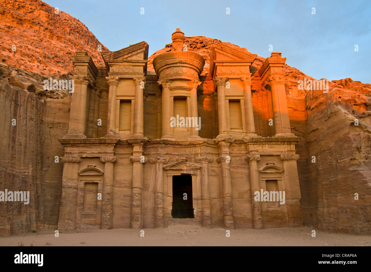 Ancient tomb carved from the rock, Ed Deir, Ad Deir, Petra, Jordan, Middle East, Asia Stock Photo