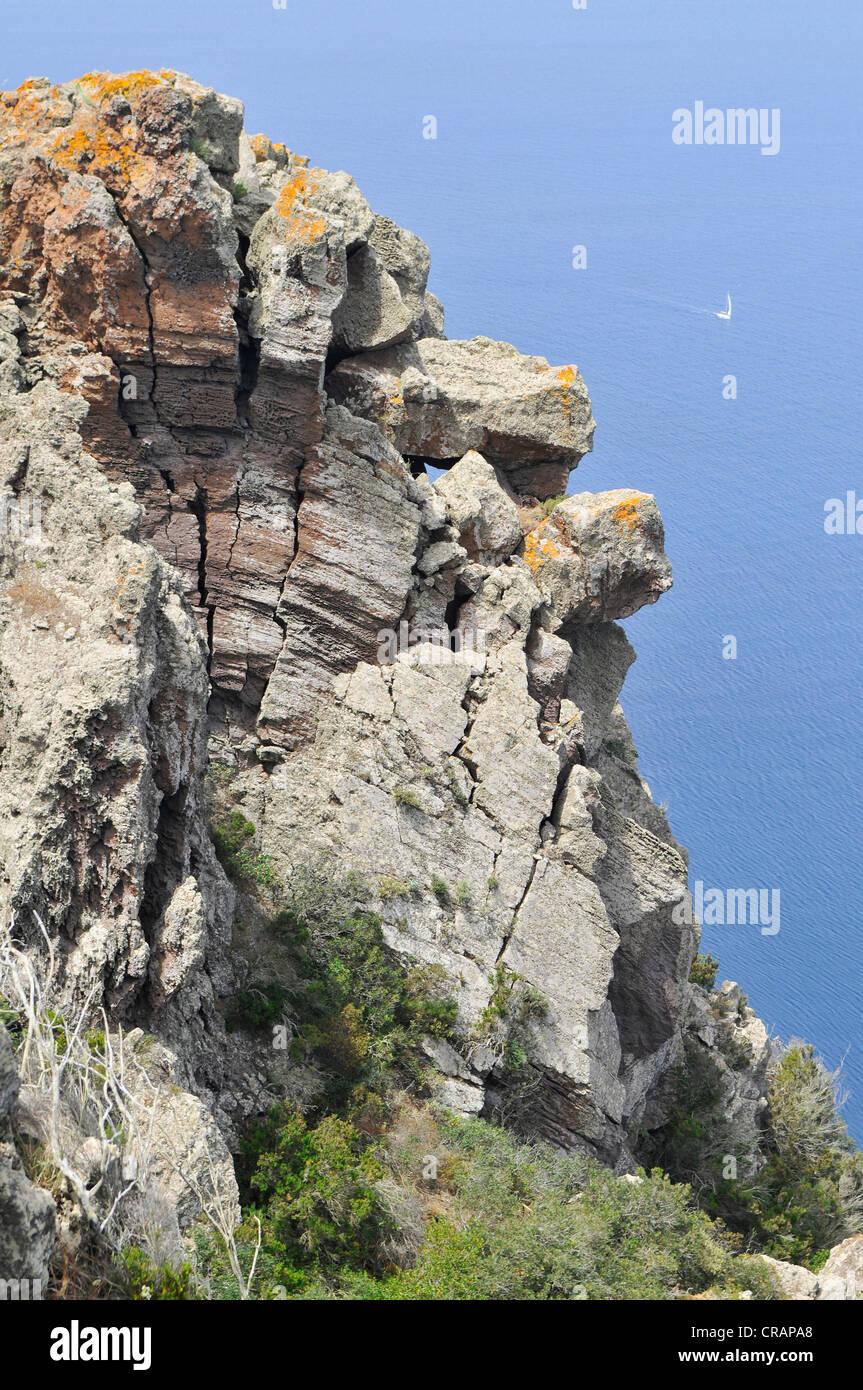 Cliffs on Panarea Island, Aeolian Islands or Lipari Islands, Sicily, Southern Italy, Italy, Europe - Stock Image
