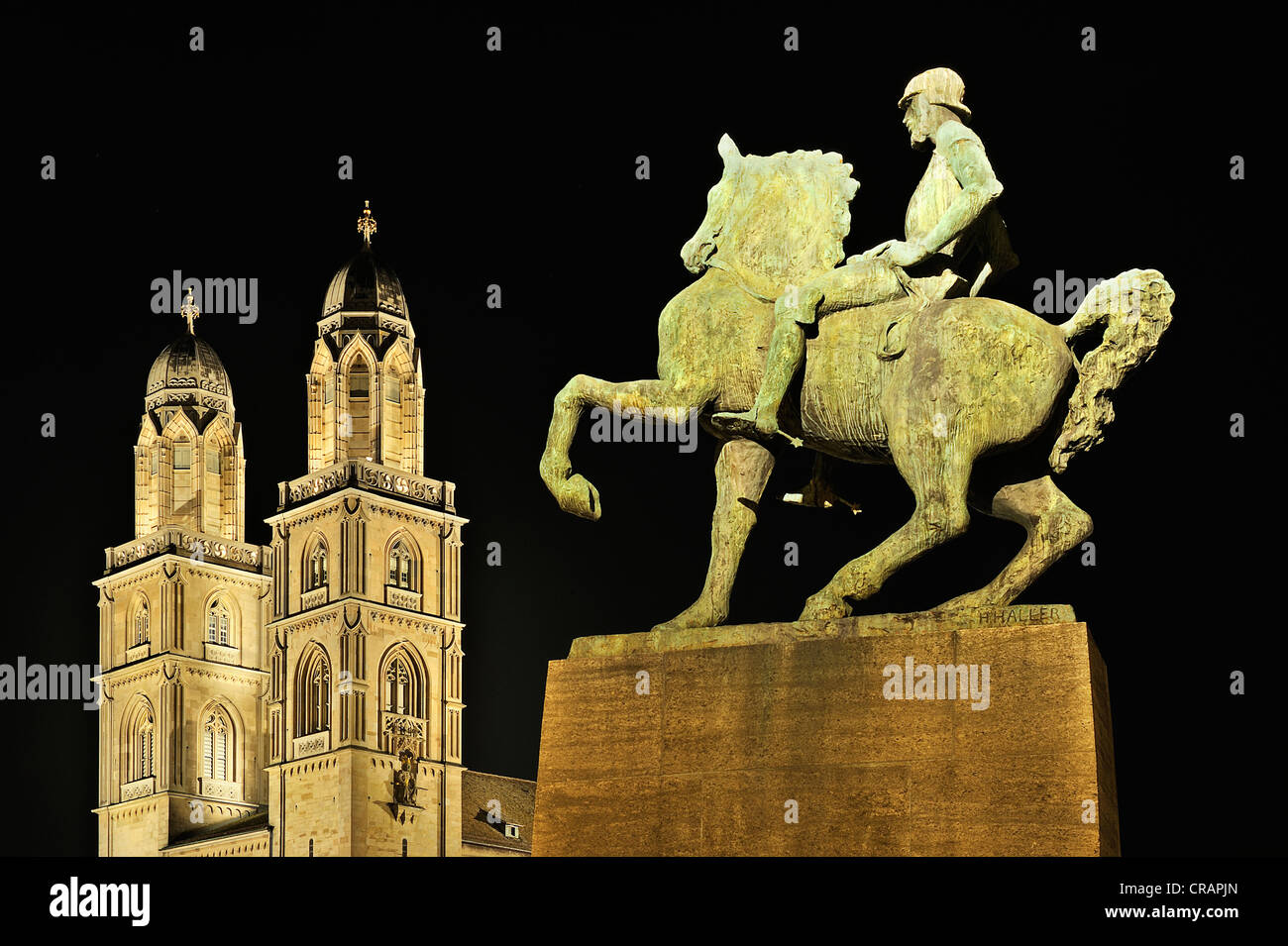 Equestrian statue of the military leader and mayor Hans Waldmann on the Muensterbruecke bridge, unveiled in 1937, - Stock Image