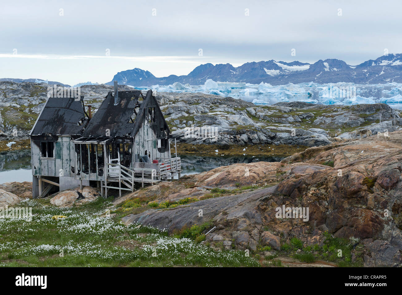 Burned house, Inuit settlement of Tiniteqilaaq, Sermilik Fjord, East Greenland, Greenland - Stock Image