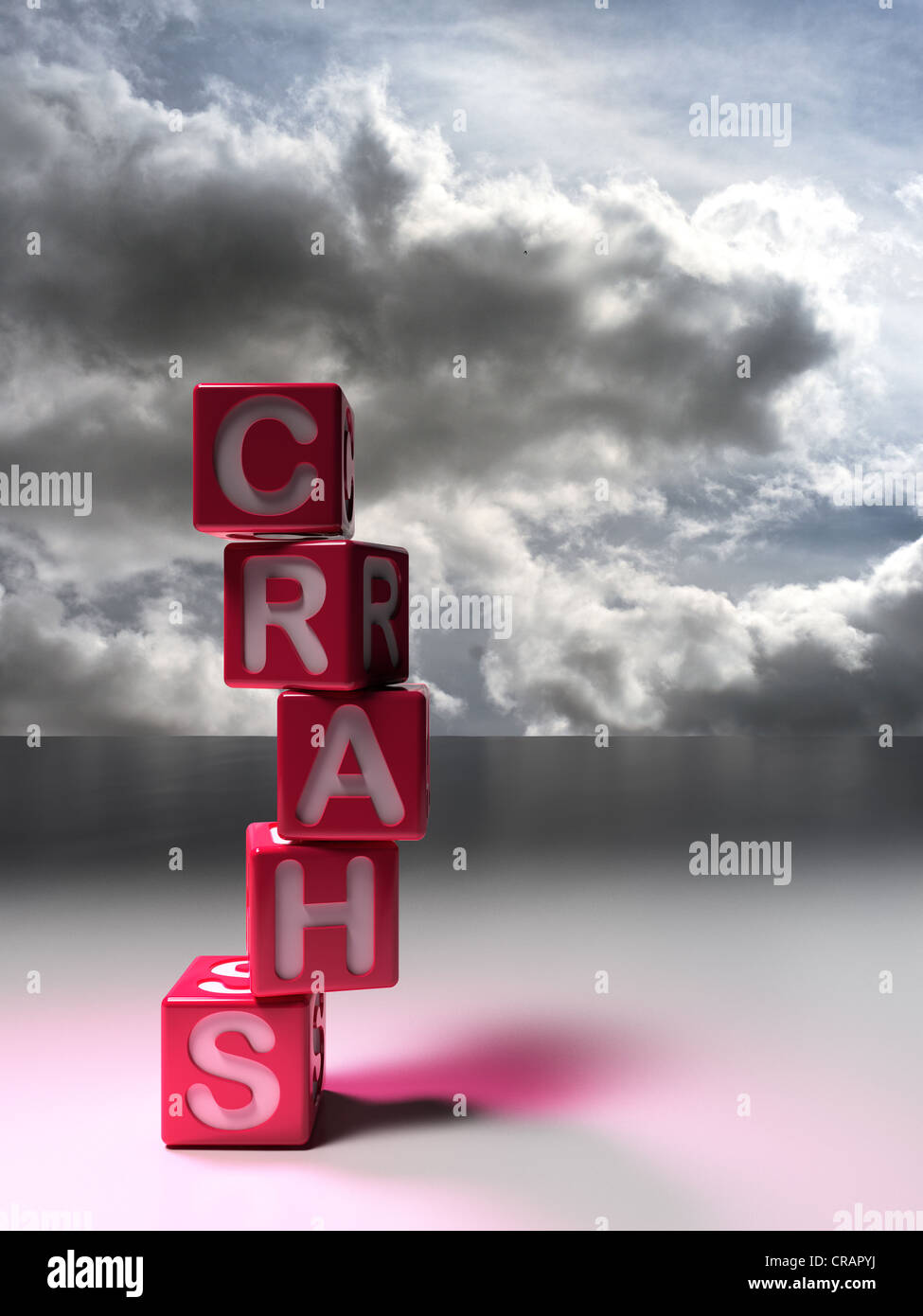 Five dice stacked, forming the word 'Crash', thunderstorm clouds - Stock Image
