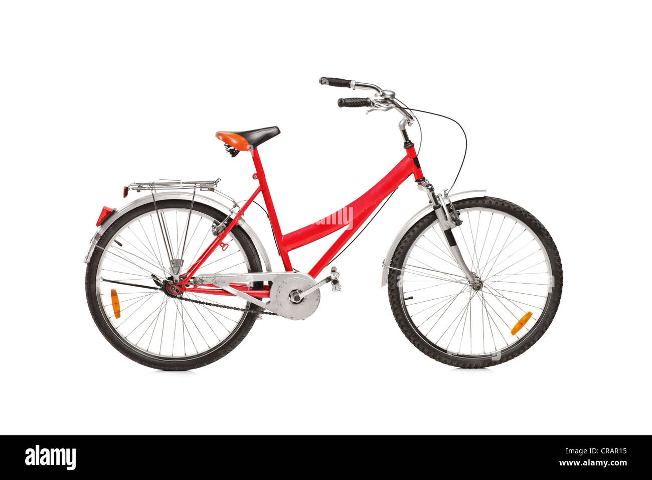 Studio shot of a bicycle isolated against white background - Stock Image