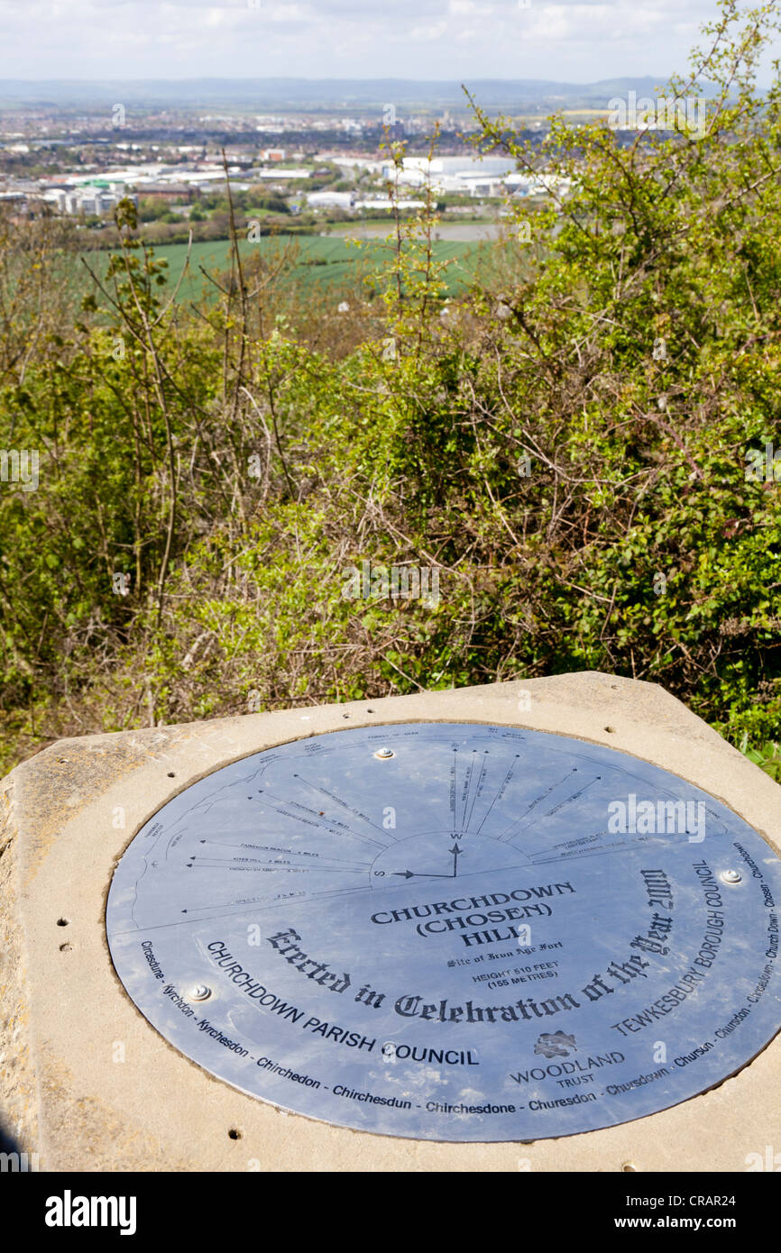 Topograph viewpoint on the top of Chosen Hill, Churchdown, Gloucestershire - Stock Image
