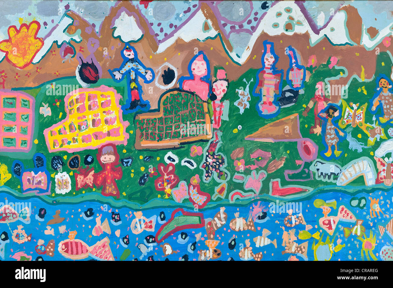 Children's painting, on the topic 'Life in Greenland', exterior wall of a house, Tasiilaq, also known - Stock Image