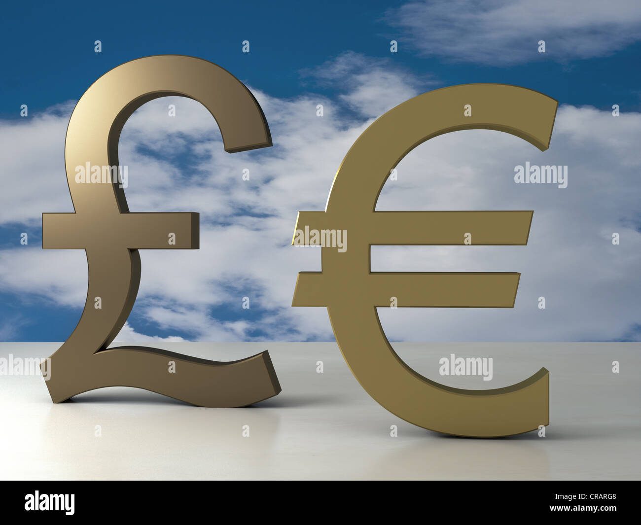 Pound Sign And Euro Sign Made Of Brass In Front Of A Cloudy Sky