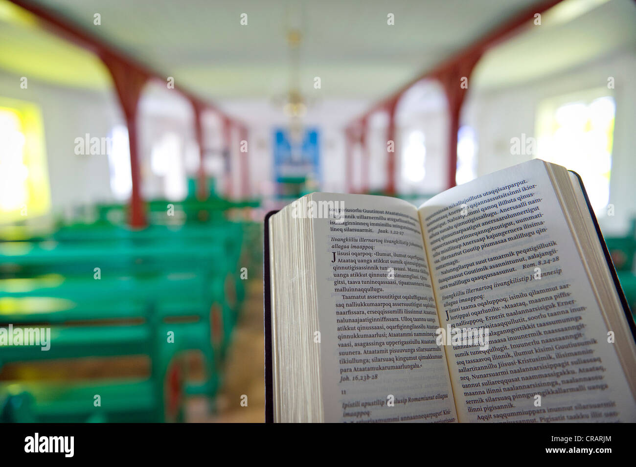 Greenlandic bible, church in Kulusuk, East Greenland, Greenland - Stock Image