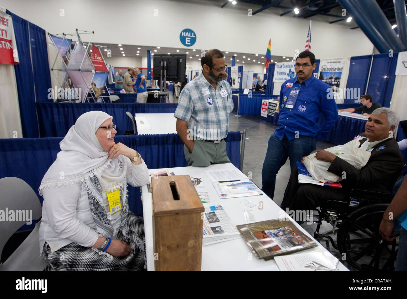 Booth at 2012 Texas Democratic State Convention trade show includes group of Muslim Democrats in Houston, Texas - Stock Image