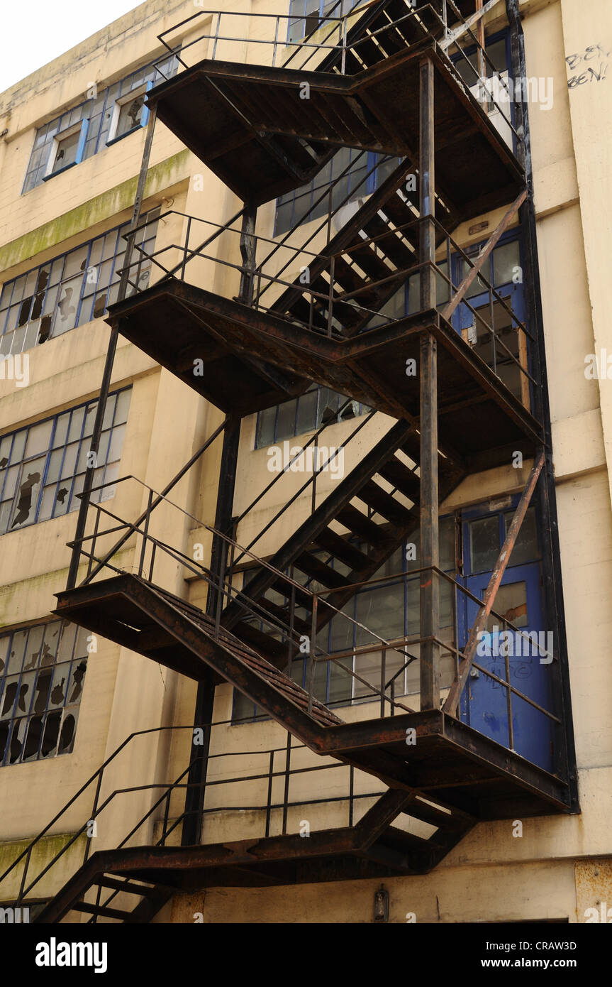 Fire Escape on old buildings, Ipswich waterfront, Suffolk - Stock Image