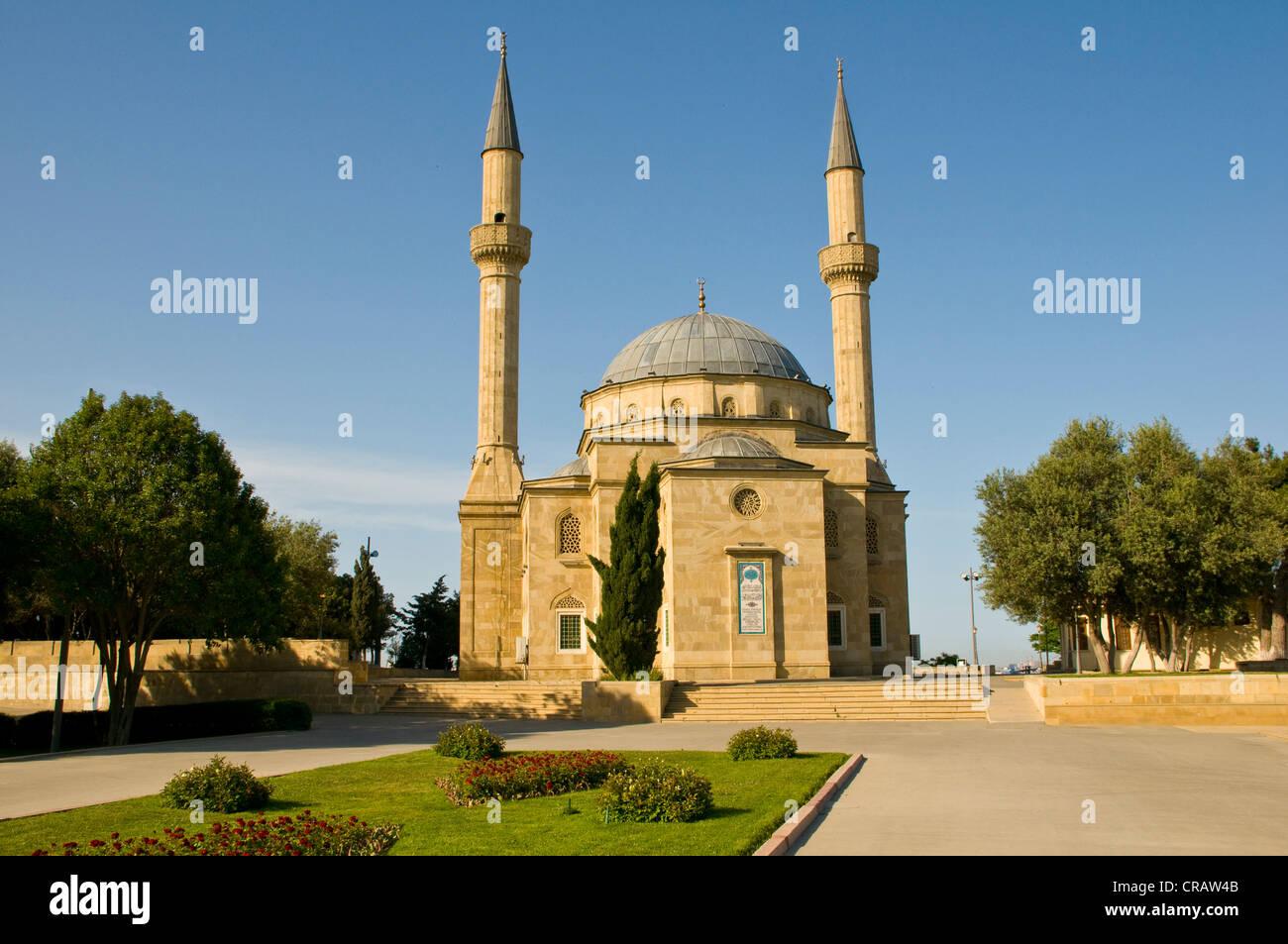 Mosque with minarets, Baku, Azerbaijan, Middle East Stock Photo