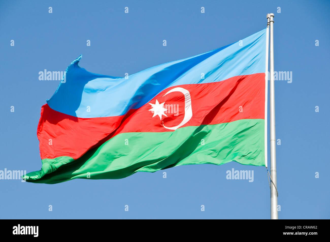 Azerbaijani flag in the wind, Azerbaijan, Middle East - Stock Image