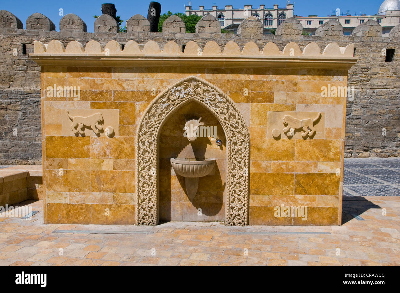 Fountain in the old town, UNESCO World Heritage Site, Baku, Azerbaijan, Caucasus, Middle East - Stock Image