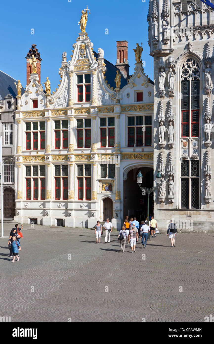 Grote Markt square and Civiele Griffie, records office, old town of Bruges, UNESCO World Heritage Site, West Flanders - Stock Image