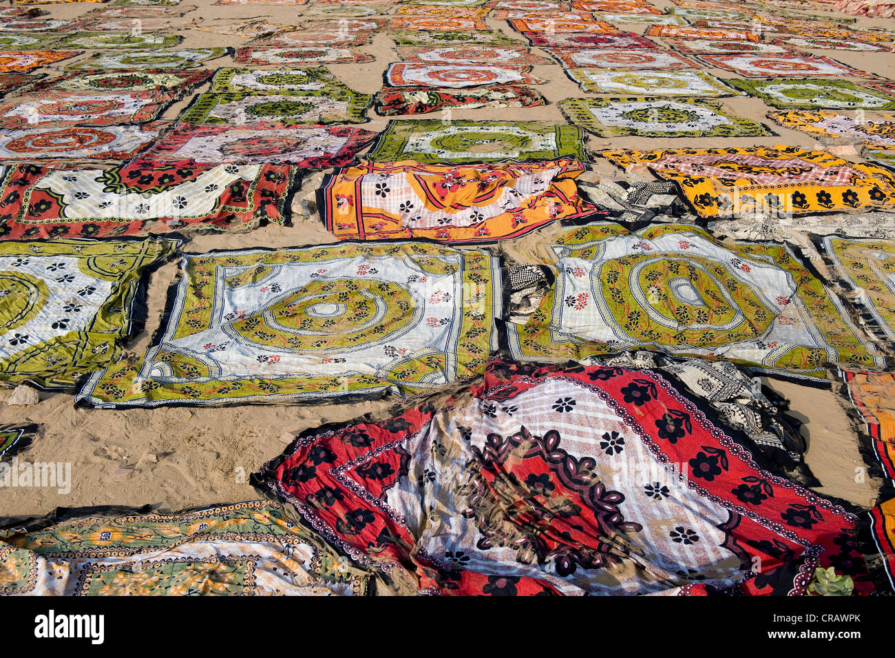 Printed and dyed fabrics, Sanganer dyeing centre near Jaipur, Rajasthan, India, Asia - Stock Image